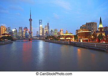 Lujiazui Finance&Trade Zone of Shanghai bund at New landmark sky