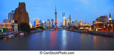 Lujiazui Finance&Trade Zone of Shanghai bund at New panorama...