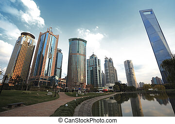 Lujiazui Finance&Trade Zone of Shanghai landmark  city landscape