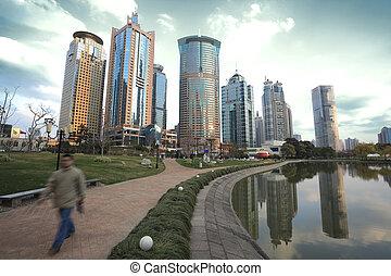 Lujiazui Finance&Trade Zone of Shanghai landmark  city landscape