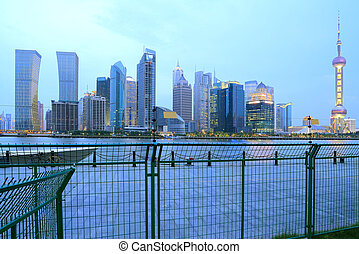 Lujiazui Finance&Trade Zone of Shanghai skyline at New night lan