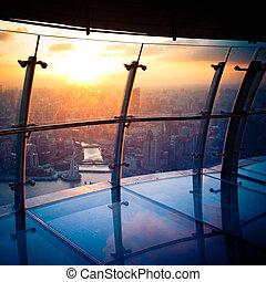 view from the Oriental Pearl TV Tower. shanghai lujiazui financial center aside the huangpu river.