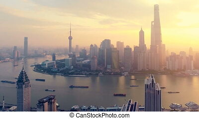 lujiazui, szanghaj, handlowy okręg, panorama