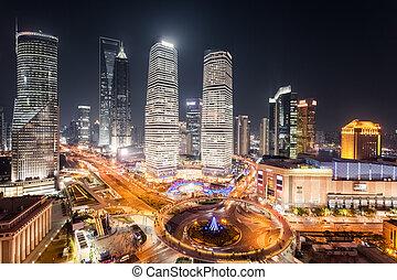 lujiazui, vista, shanghai, aéreo, noche
