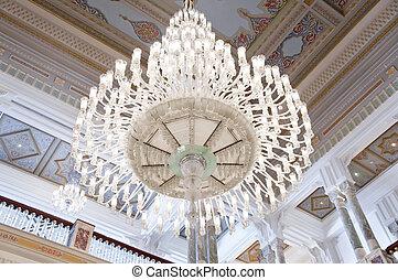 lujo, araña de luces, en, un, palacio