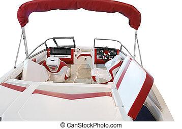 lujo, barco, interior