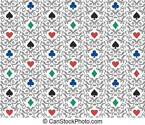 lujo, blanco, póker, plano de fondo, con, tarjeta, símbolos, ornamento