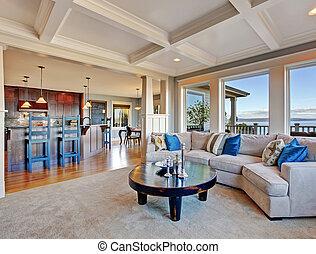 lujo, casa, coffered, piso, plan., techo, abierto, alfombra