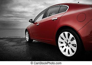 lujo, cereza, coche rojo