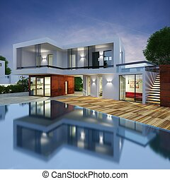 lujo, chalet, proyecto