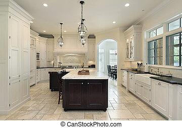 lujo, cocina, con, blanco, cabinetry