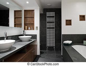 lujo, cuarto de baño, con, el suyo, y, hers, fregaderos