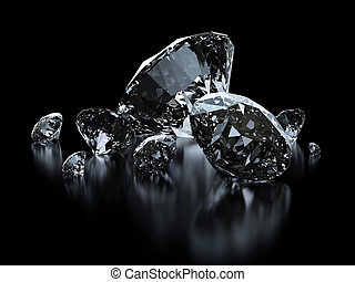 lujo, diamantes, en, negro, fondos, -, ruta de recorte,...
