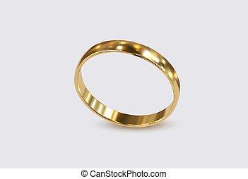 lujo, dorado, anillo, aislado, blanco, fondo.