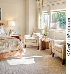 lujo, dormitorio, hogar, hermoso