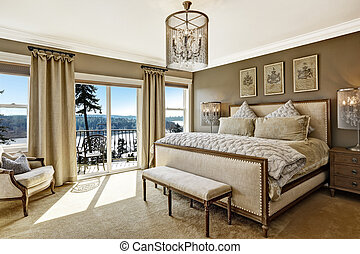 lujo, dormitorio, interor, con, vista escénica, de, cubierta