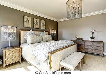 lujo, dormitorio, interor