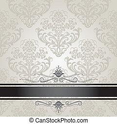 lujo, floral, plata, cubierta de libro