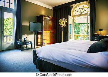 lujo, habitación de hotel