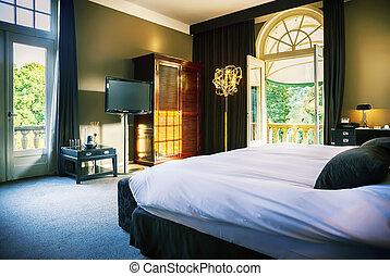 lujo, habitación, hotel