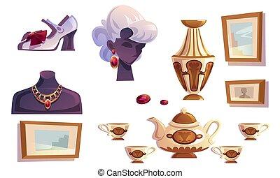 lujo, hembra, joyas, artículos, oro, florero, cuadros