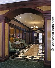 lujo, hotel, balneario, pasillo
