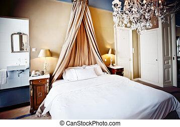 lujo, hotel, cama