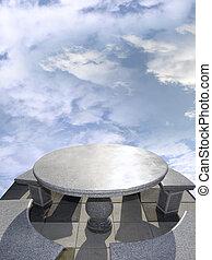 lujo, mármol, tabla, y, sillas