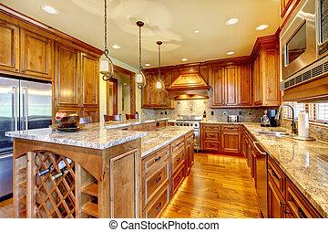 lujo, madera, cocina, con, granito, countertop.