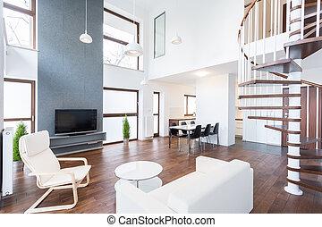 lujo, mansión, en, moderno, diseño