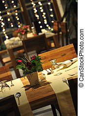 lujo, moderno, interior, restaurante