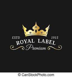 lujo, monogram, diadema, tarjeta, template., hotel, logotipo, etcétera, icono, vector, corona, utilizado, illustration., restaurante, design., corona