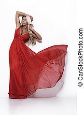 lujo, mujer, en, vestido rojo