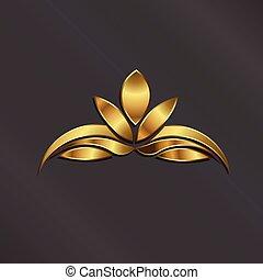 lujo, oro, loto, planta, logotipo