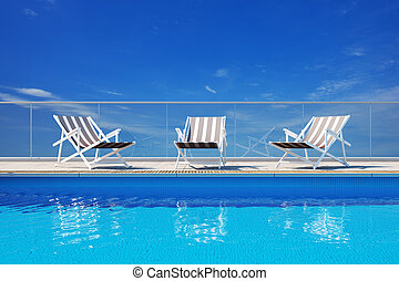 lujo, piscina, natación