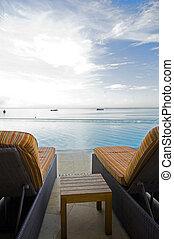 lujo, piscina, puerto, de, españa, trinidad, mar caribe