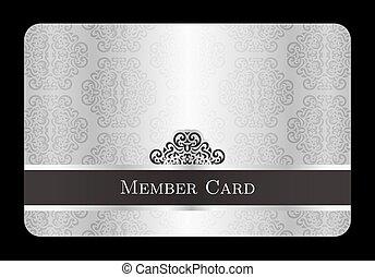 lujo, plata, miembro, tarjeta, con, vendimia, patrón floral