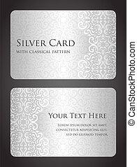 lujo, plata, tarjeta, con, vendimia, patrón