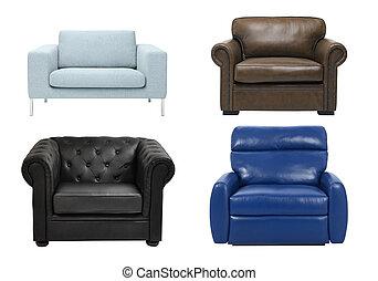lujo, sillón, aislado, blanco, plano de fondo