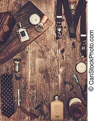 lujo, tabla, caballero, de madera, accesorios
