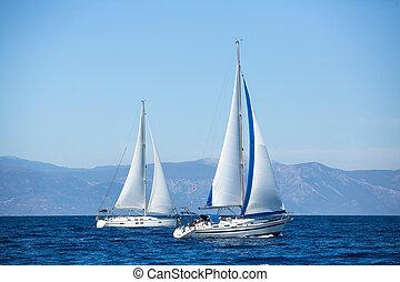 lujo, yachts., barcos, en, navegación, regatta.