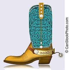 lujo, zapato, diamantes, bota, vaquero, diseño, spur.