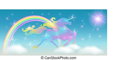 lujoso, brillante, galopar, contra, cielo, bobina, plano de fondo, estrellas, iridiscente, melena, universo, arco irirs, unicornio