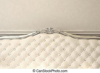 lujoso, espalda, de, sofa., barroco, interior