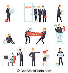 luka, wybór, prace, ludzie, komplet, rewizja, badawczy, werbunek, dzierżawiąc, praca, wektor, kandydaci, ilustracja, deficytowy, ich