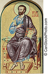 Luke the Evangelist, detail of mosaic from facade of the Romanian Patriarchal Cathedral, Bucharest, Europe