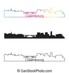 luksemburg, sylwetka na tle nieba, linearny, styl, z, tęcza