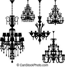 luksus, belysning, (vector)