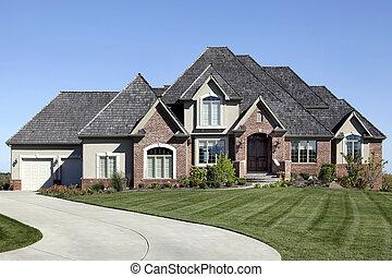 luksus, cegła, dom