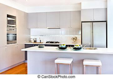 luksus, dom, ściany, nowoczesny, kuchnia, biały